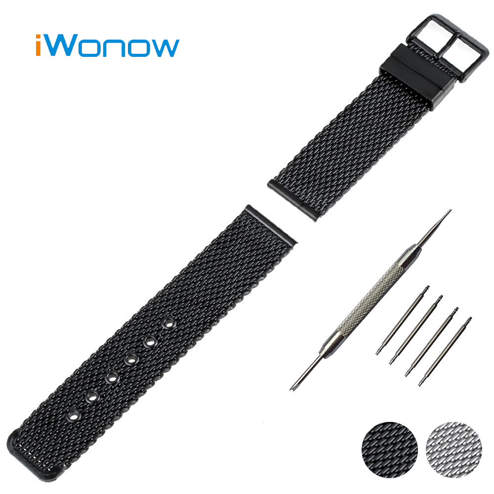 Stainless Steel Watch Band 22mm for Samsung Gear S3 Classic / Frontier Pin Buckle Strap Wrist Belt Bracelet Black Silver + Tool 22mm silicone rubber watch band for samsung gear s3 classic frontier stainless steel buckle strap wrist belt bracelet black