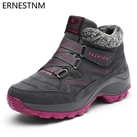 ERNESTNM Winter Women Snow Boots Waterproof Warm Plush Platform Ankle Boots  Ladies Hiking Sneakers Shoes Botas 619eabe8b74