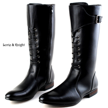 Classic Black Men British Motorbike Riding/Horse Riding Boots Military Winter Boots Cowboy Martin Boots