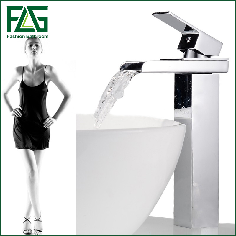 Contemporary Brass Tall Square Waterfall Countertop Bathroom Sink Faucet Chrome Finish Mixer Tap