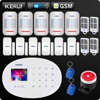 KERUI W20 New Model Wireless 2.4 inch Touch Panel WiFi GSM Security Burglar Alarm System APP RFID Mini Movable PIR Sensor Siren