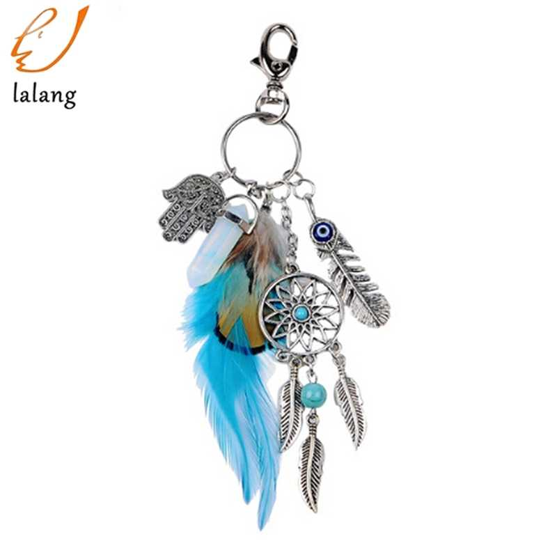 Artilady natural opal stone dreamcatcher keyring bag charm fashion silver boho jewelry feather keychain for women 2018