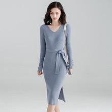 2018 autumn and winter Korean temperament package hip dress v-neck knitted dress female bottoming knitting dress women f9853