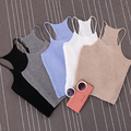 EDGENSION European Style Womens Sexy Short Cropped Knitted Tank Tops New 2017 Spring Summer Fashion Ladies' Knit Crop Tanks