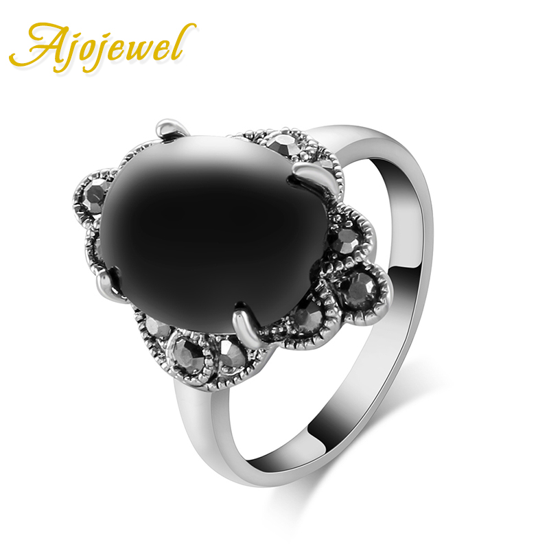 Free Shipping Fashion 18K White Gold Plated Black Stone Ring For Women