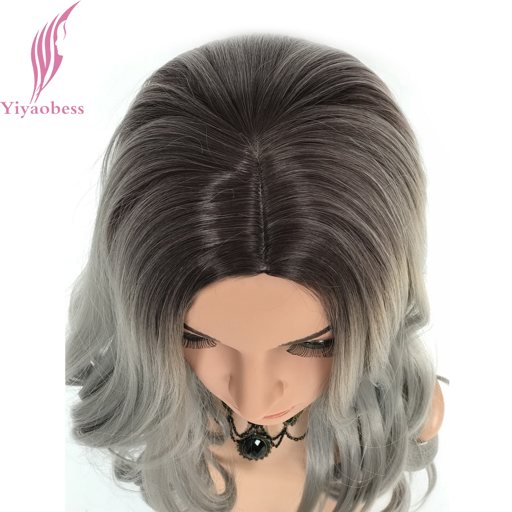 Yiyaobess 22inch Grey Ombre Wig Heat Resistant Synthetic Long Wavy Lolita Wigs For White Women