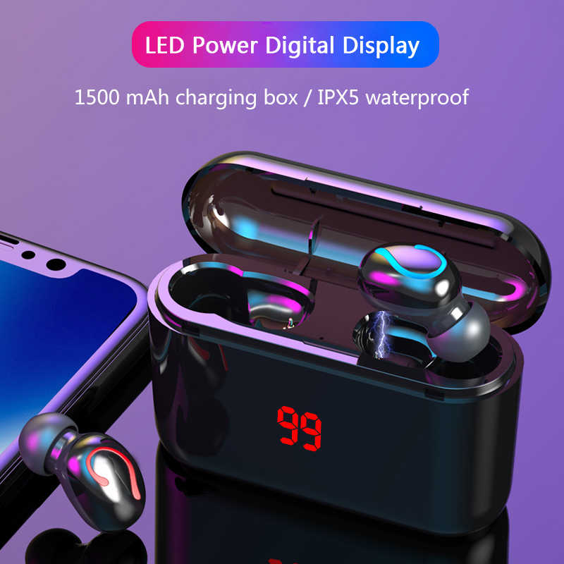 Earphones Bluetooth 5.0 TWS headphone mini invisible 3D HiFi stereo wireless headset with power bank charging box With display