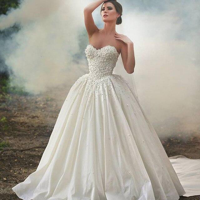 2016 Designer Said Glamorous Strapless Flower Sleeveless Chapel ...