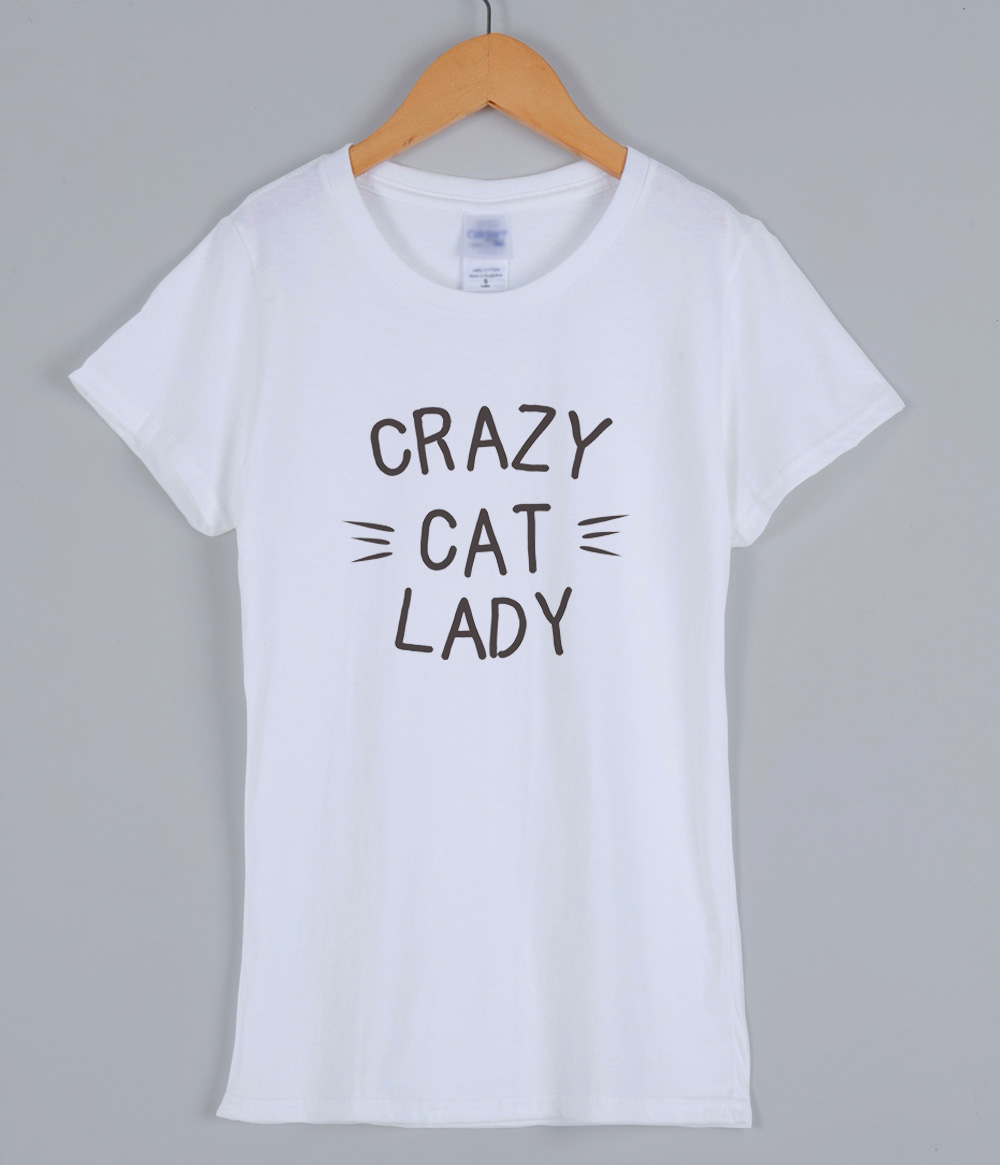 CRAZY CAT LADY T-shirts For Women 2019 Summer Short Sleeve Cotton Character Female T-shirt Harajuku Streetwear Women's Shirt Top