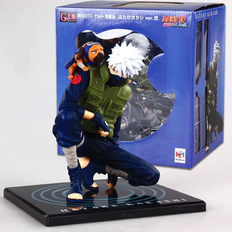 GEM 15cm Anime Naruto Hatake Kakashi & Pakkun Dog PVC Action Figure Brinquedos Collectible Model Toy Dolls With Box japanese anime figures 23 cm anime gem naruto hatake kakashi pvc collectible figure toys classic toys for boys free shipping