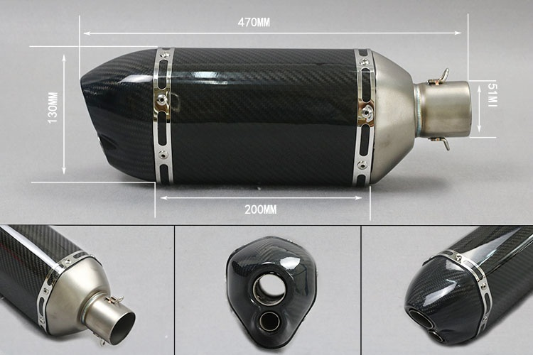 Universal Carbon Fiber Color 51mm Motorcycle Exhaust Muffler Pipe Escape Moto Exhaust Fit for akrapovic motorcycle GSXR CBR carbon fiber 36 51mm motorcycle universal exhaust pipe muffler escape pipe for cb400 cb1000 er6n yzf r6 bj300 ninja300 gxsr600