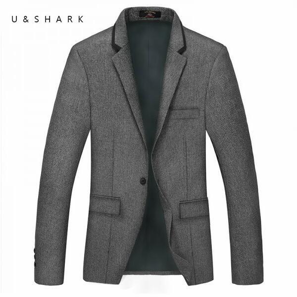 Англия Стиль Мода Серый Плед Костюм Пиджак Мужчины Бренд Дизайнер Свадебные Пальто 2016 Осень Новый Роскошный U & Shark Повседневная куртка Мужчины