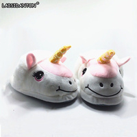 LAISIDANTON Women Pink Unicorn Slippers Unicornio Slippers Shoes Women Pantufa Men Cosplay Chaussons Licorne Funny Soft
