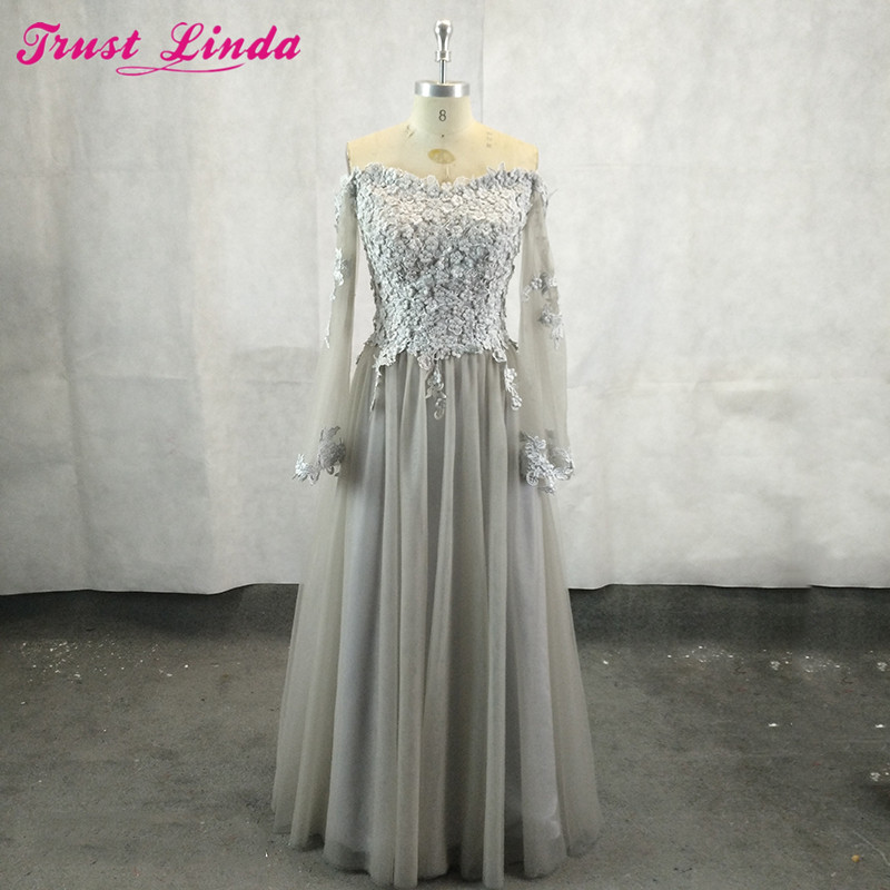 Robe De Soiree 2018 Long Sleeves Mother Dresses Silver Lace Appliques Pearls Long Formal Party Gowns Abendkleider Prom Dress