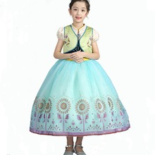 Girls Princess Elsa Anna Costume Dress Velvet Embroidered Flower Dresses Up with Jacket Coronation Day Outfit Cosplay 2-10 Yr цена и фото
