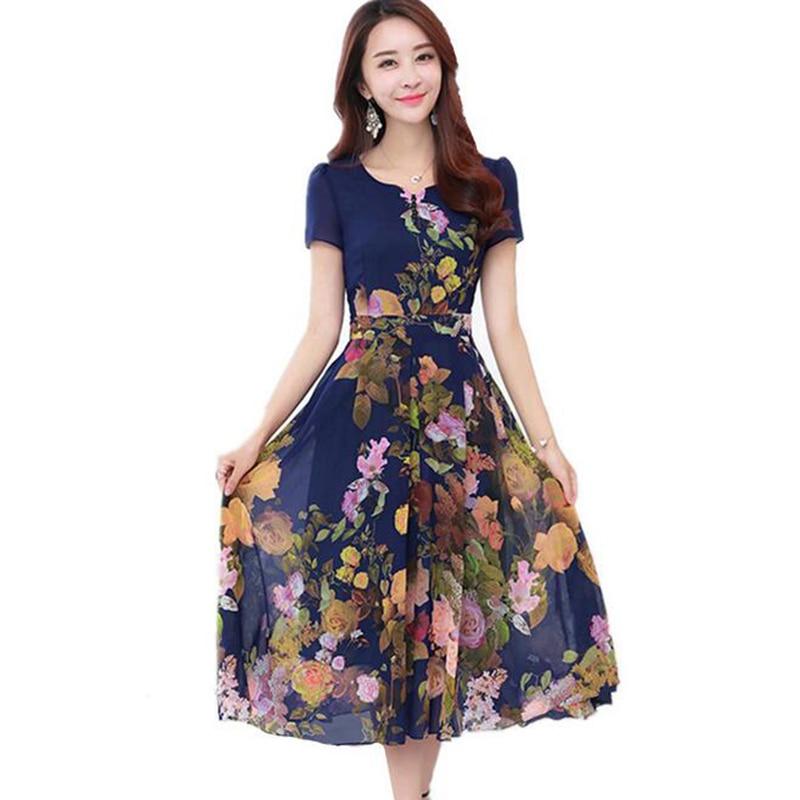Bohemian V-neck Slim Robe Femme Vintage Dress Chiffon Vestido Floral 2017 Summer Women Beach Dress Plus Size 4XL Dresses LU320