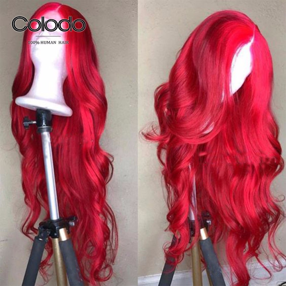 COLODO Bright Red Lace Front Human Hair Wigs With Baby Hair Pre Plucked 150% Density Remy Hair Body Wave Lace Wigs For Women(China)