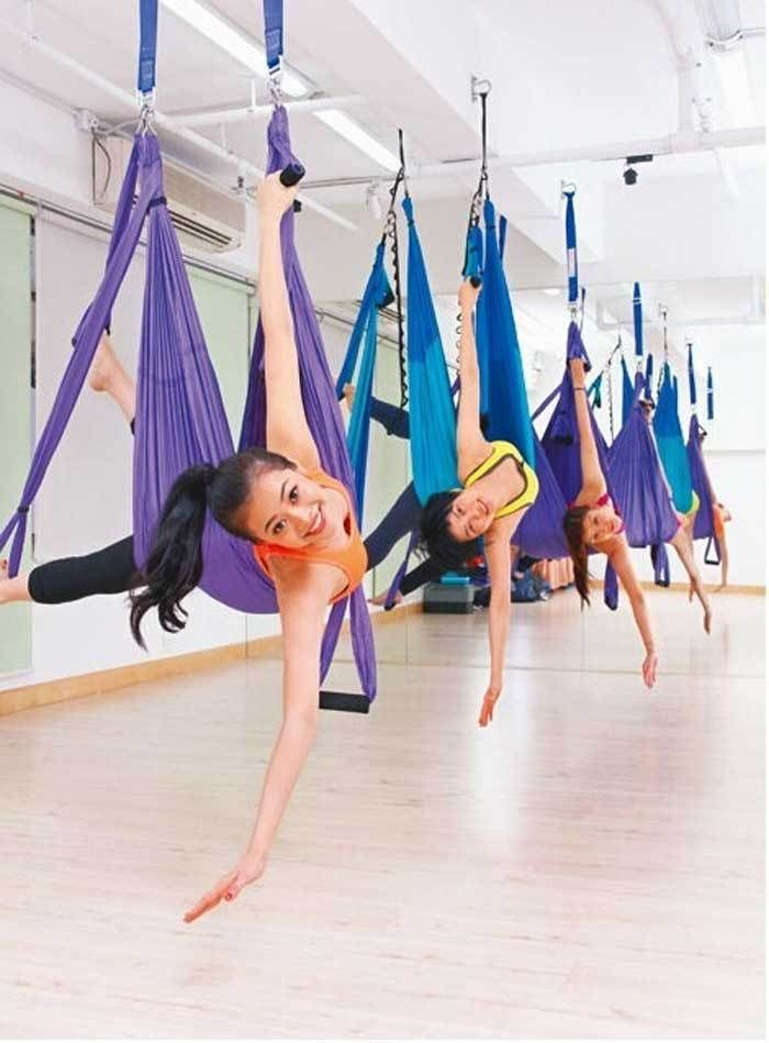 YONTREE Yoga Swing Deluxe Flying Hammock Sling Trapeze Aerial Yoga Or Gym Inversion Tool H1206 2 5m 1 5m bearing 500kg elastic exercise yoga hammock aerial swing anti gravity yoga belt inversion trapeze hanging gym traction