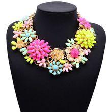 2015 nueva llegada del envío gratis joyería caliente de moda Chunky Multi-color flor collares cristalinos declaración y colgantes XG538