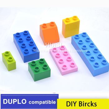 Boy 3 Years Toys Plastic Building Blocks Compatible With Legoe Duplo Educational Bricks Building Set DIY Toys For Children 50pcs large particles numbers train building blocks bricks educational babycity toys compatible with duplo diy