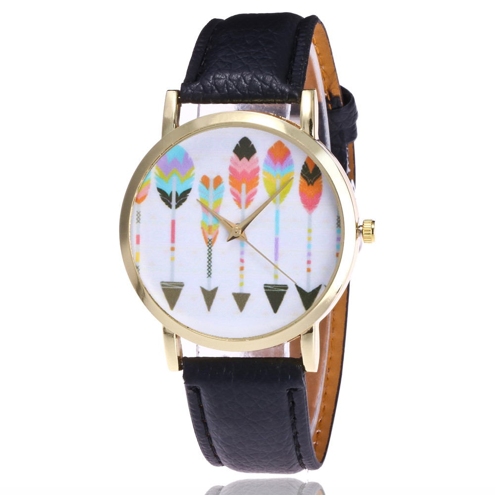 Gofuly New Ladies Leather Quartz Watches Fashion Casual Arrow Pattern Wristwatches For Women Relogio Feminino Relojes Mujer 2020