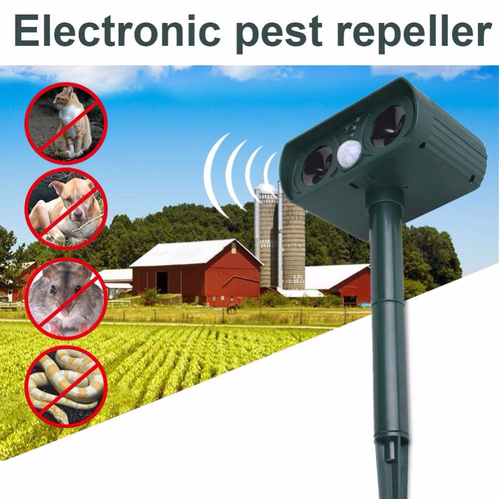New Solar Ultrasonic Electron Mice Snake Repeller Anti Mosquito Mouse Repellent Device Pest Reject Fky Bee Killer Trap Control