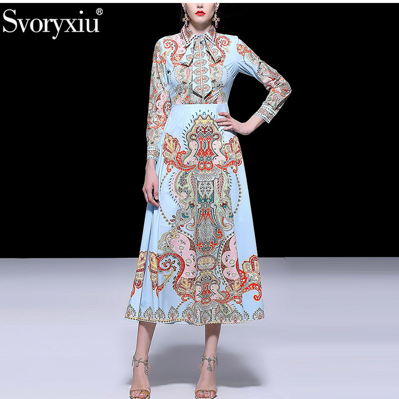 Svoryxiu Spring Summer Designer Long Sleeve Maxi Dress Women's Vintage Female Robe Bohemian Print Holiday Party Long Dresses-in Dresses from Women's Clothing    1