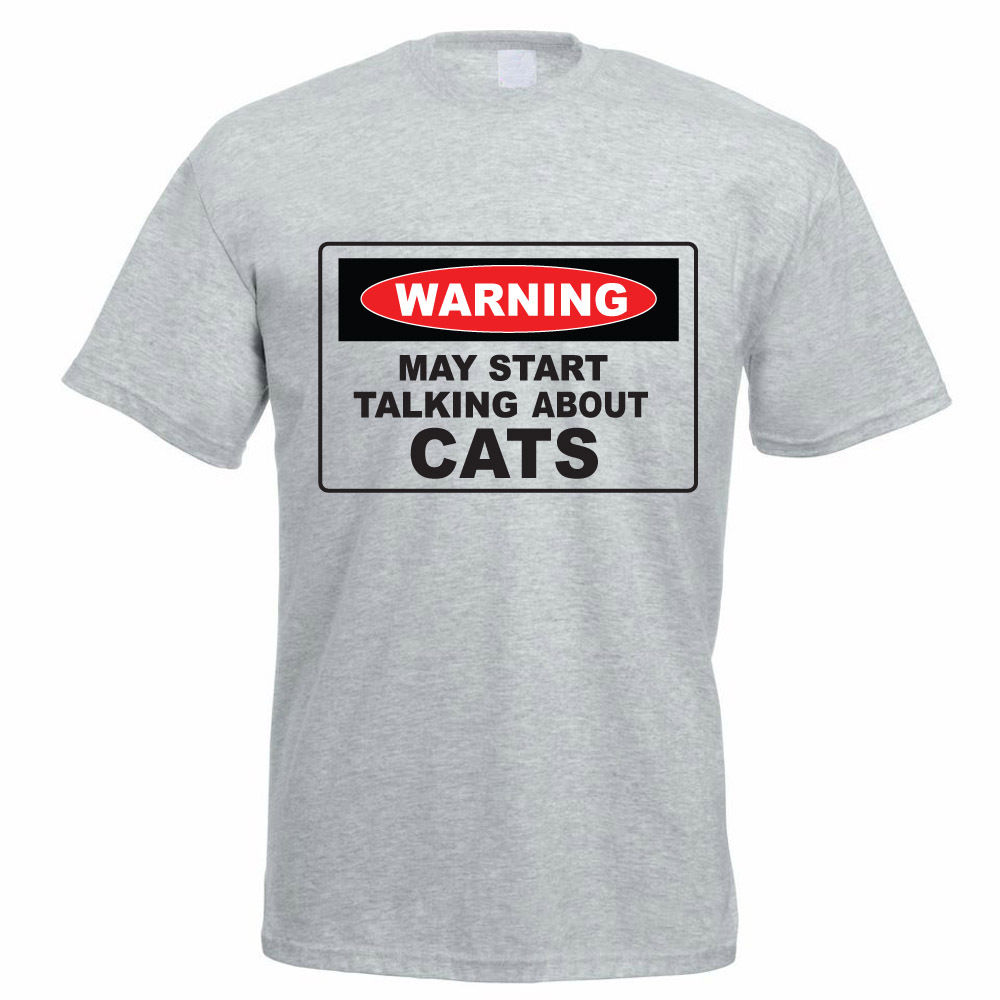 Tee Shirt Sale Men'S Warning May Start Talking About Cats Feline Funny Gift Idea Summer O-Neck Short-Sleeve Tee Shirt