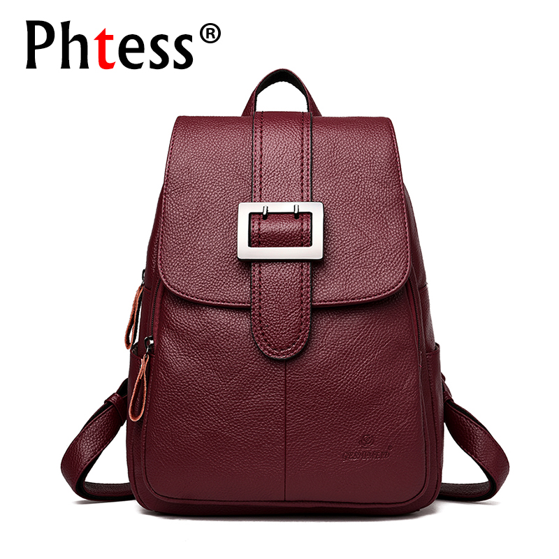 2018 women leather backpacks female Large capacity travel backpack for girls school backpacks sac a dos vintage belt back pack fashion women backpack black soft leather backpacks female school shoulder bags for teenage girls travel back pack sac a dos