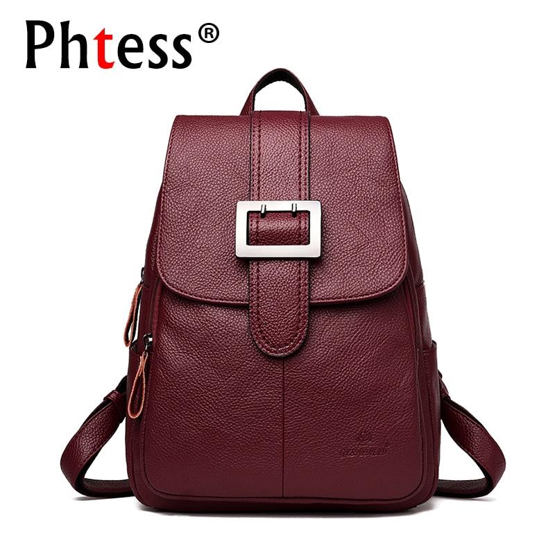 2019 women leather backpacks female Large capacity travel backpack for girls school backpacks sac a dos vintage belt back pack