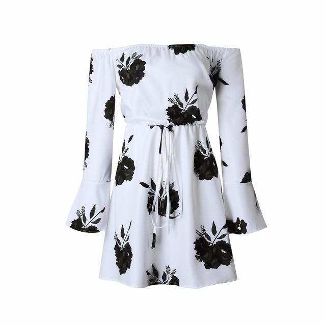 Floral Print Flare Sleeve Dress