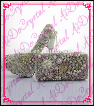 Aidocrystal hight quanlity wholesale crystal matching shoes and bag set for party wedding