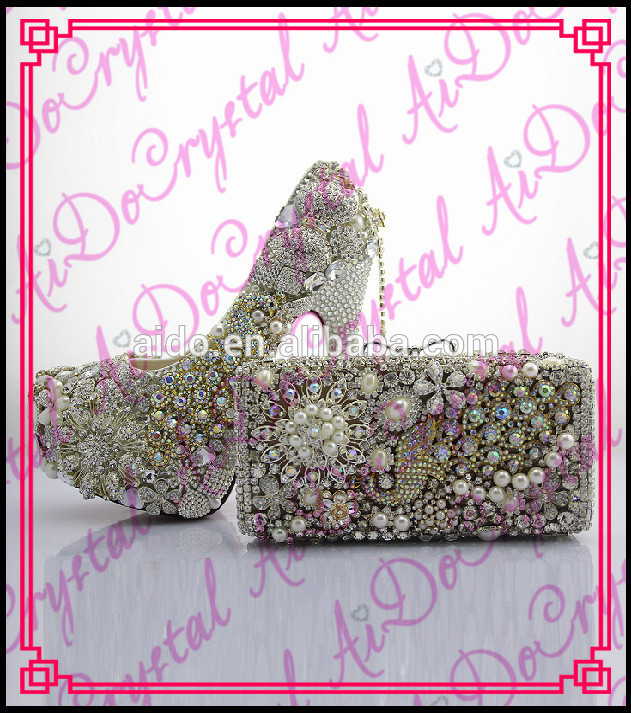 Aidocrystal hight quanlity wholesale crystal matching shoes and font b bag b font set for party