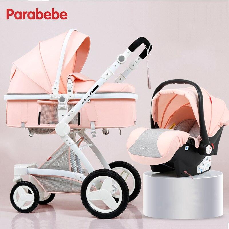 Baby Stroller 3 In 1 Certification 3 Years Quality Warranty Kids Pram 3 In 1 Rubber Wheel Pushchair Infant Car Seat Cart Pink 3 in 1