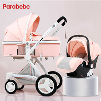 Baby Stroller 3 In 1 Certification 3 Years Quality Warranty Kids Pram 3 In 1 Rubber Wheel Pushchair Infant Car Seat Cart Pink