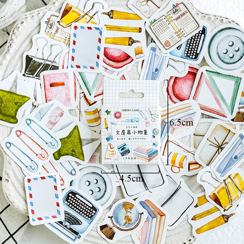 46pcs/box Cute Bullet Journal Stickers Decorative Adhesive Stickers Stationery Stickers Scrapbooking Diary DIY For Photo Album