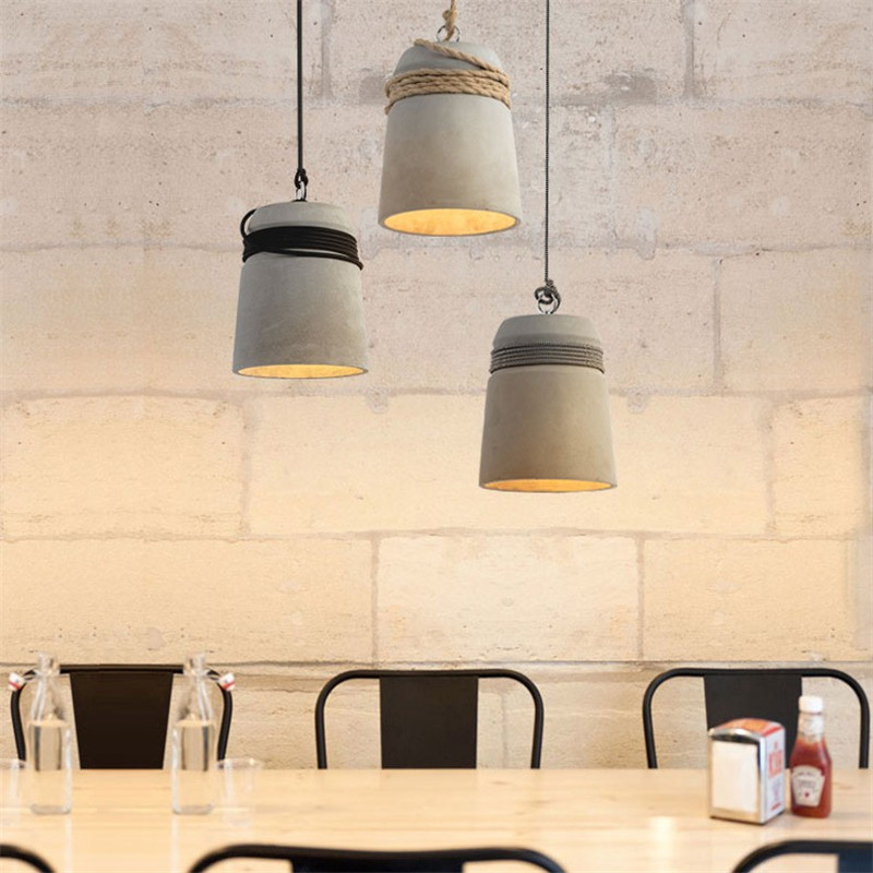 Nordic Vintage LED Pendant Light Industrial Cement Lamp Loft Decor Retro HangLamp Dining Room Lights Pendant Lighting Fixtures iwhd american retro vintage pendant lights fixtures edison loft industrial pendant lighting hanglamp lampen wrount iron