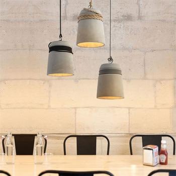 Nordic Vintage LED Pendant Light Industrial Cement Lamp Loft Decor Retro HangLamp Dining Room Lights Pendant Lighting Fixtures