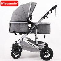 Wisesonle Высокая Пейзаж детская коляска может сидеть и раза два способ четыре колеса амортизатор ребенка толчок четыре колеса коляска