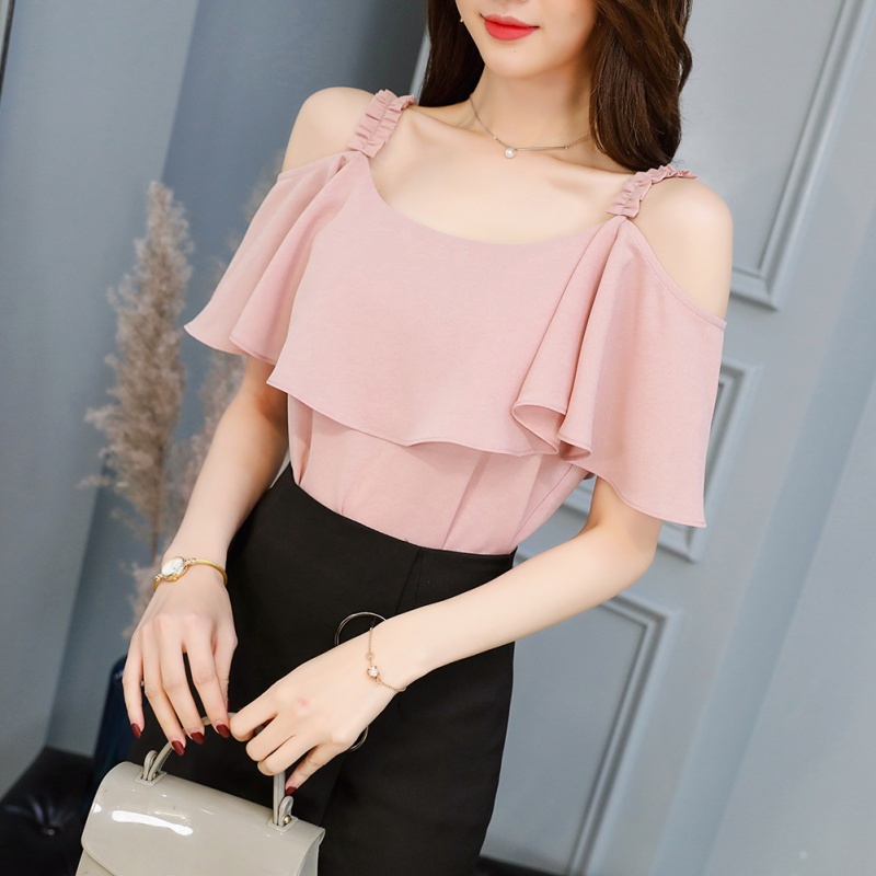 2018 Casual Ladies  Off Shoulder Short Sleeve Blouses Print Floral Chiffon Shirts  for Women Clothing Female Women Tops