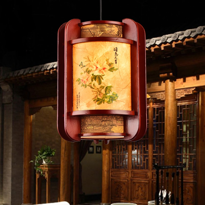 Modern Chinese small Pendant Lights single head antique sheepskin lamp restaurant aisle teahouse entrance chafing dish LU718129 chinese style antique wooden sheepskin chandelier lamp three classical teahouse atmosphere restaurant head send bless