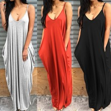 Hot Sale 2017 Women Summer Sexy Spaghetti Strap Long Dress Solid Sleeveless Loose Dresses Plus Size Casual Maxi Vestidos