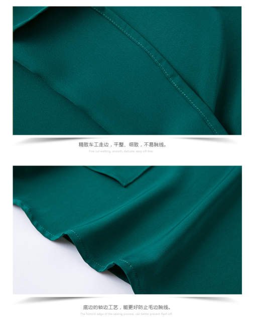 434096288ead6c Autumn Elegant Long Sleeve Diamond Collar Tie OL Women Chiffon Shirt Blouse  Dark Green Emerald S