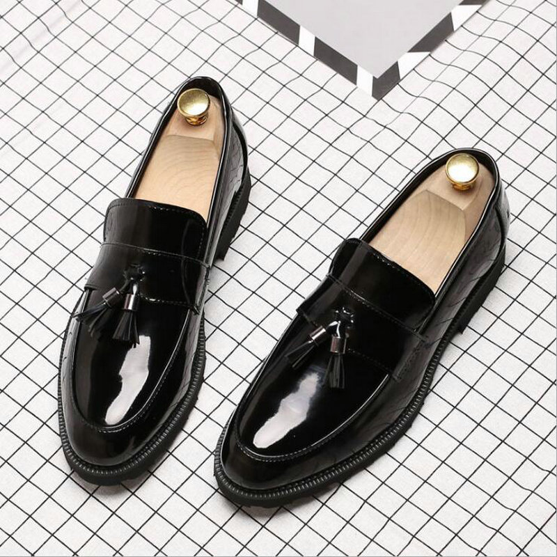 Big Size New Fashion Men Tassel Business Formal Dress Shoes loafers Men Wedding Shoes Leather Oxfords Pointed Toe Shoes LG-07 mycolen new arrived brand men shoes black oxfords shoes pointed toe men flat business formal shoes lace up men s dress shoes