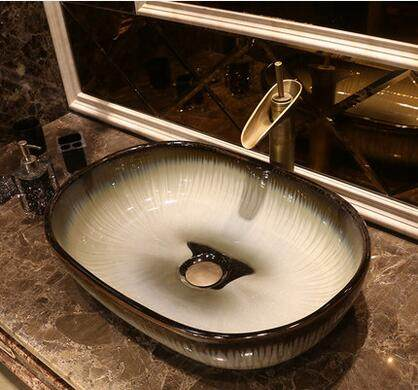 Online Shop European antique ceramic bench washbasin oval art ...