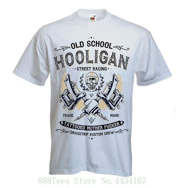 Hot Rod T Shirts >> Dragstrip Clothing Mens White Hooligan Tattoo Life Hot Rod T Shirt