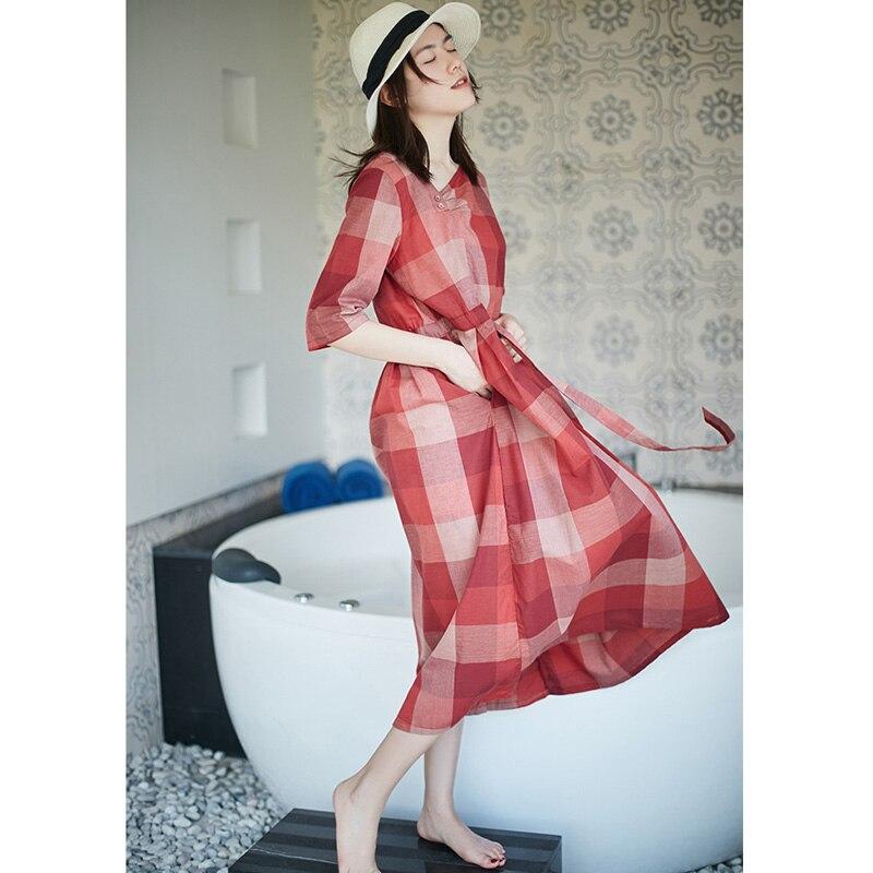 Scuwlin 2019 printemps été robe Modis classique à carreaux cordon Empire-taille lâche décontracté coton robe Vestidos S839