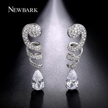 NEWBARK Newest Long Earrings Spiral Shape Pave CZ Diamond With Teardrop Pendant Earrings For Women Silver Color Wedding Jewelry