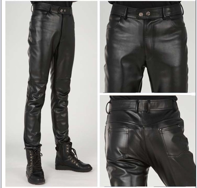 d0a0868adbe Plus size free shipping Men s brand fashion slim british style zipper  tight-fitting motorcycle leather pants trousers   28-37