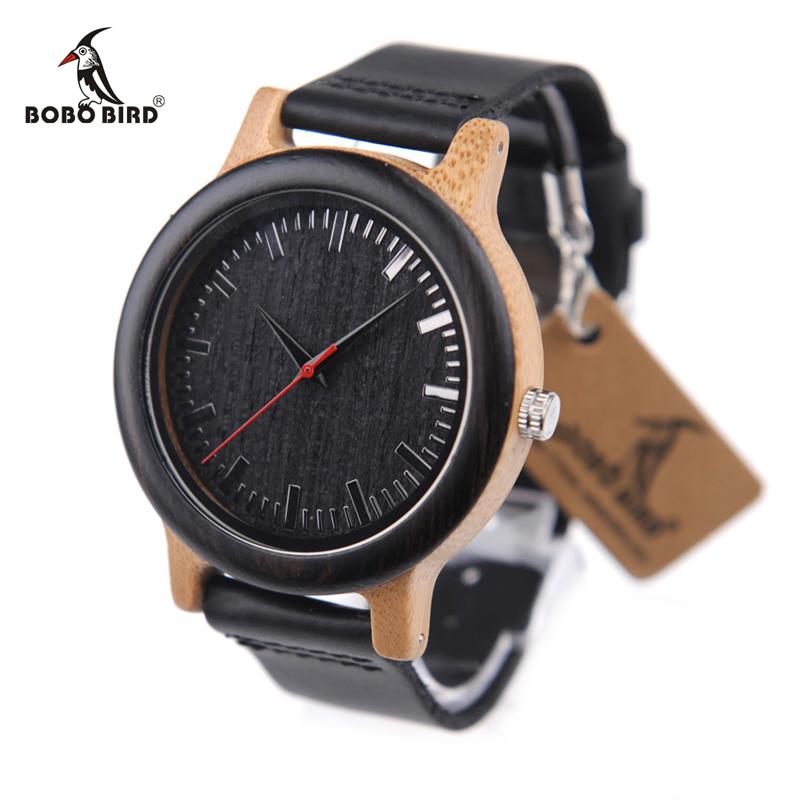 Prix pour Bobo bird m13 ébène en bois montre-bracelet analogique avec brun de peau de vache bracelet en cuir casual montre pour garçons d'honneur cadeau